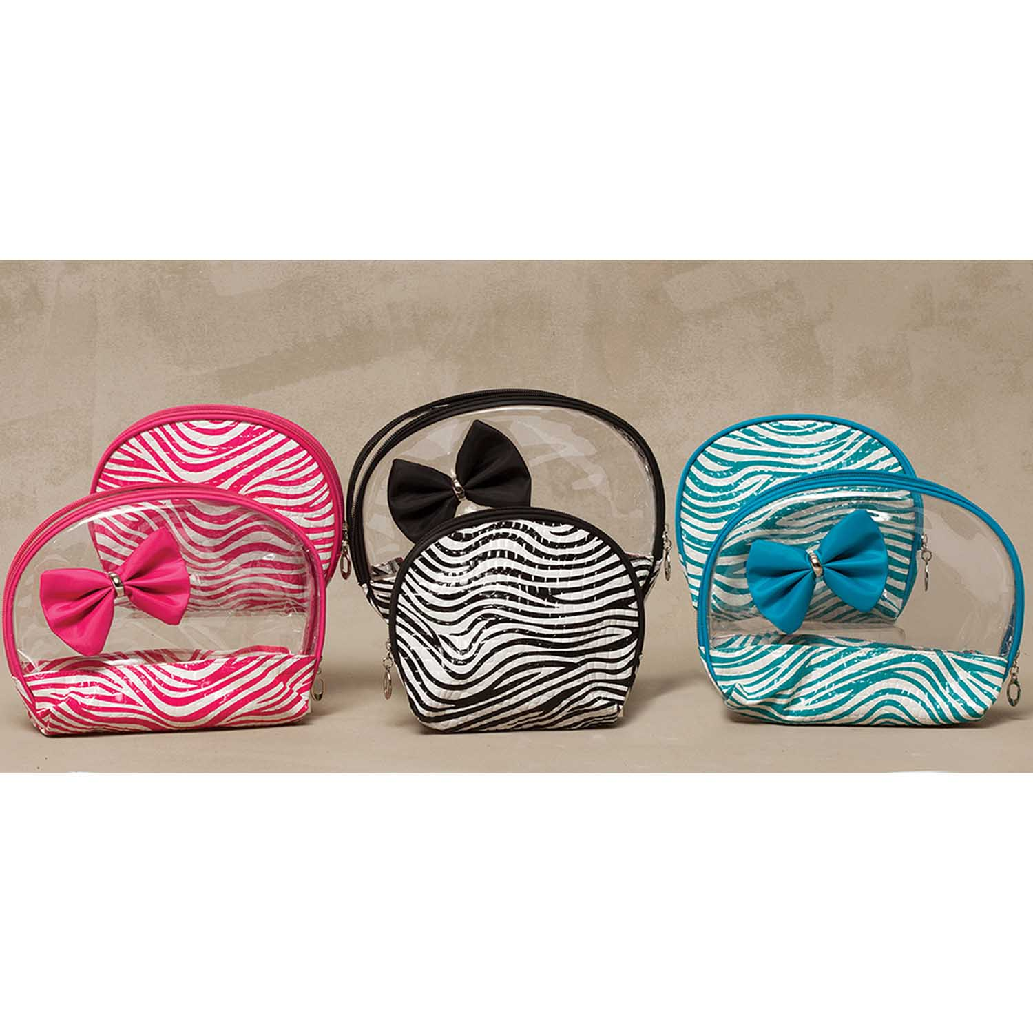 Zebra Accessory 2 Bag Set with Bow 3 Assorted Black *30sp