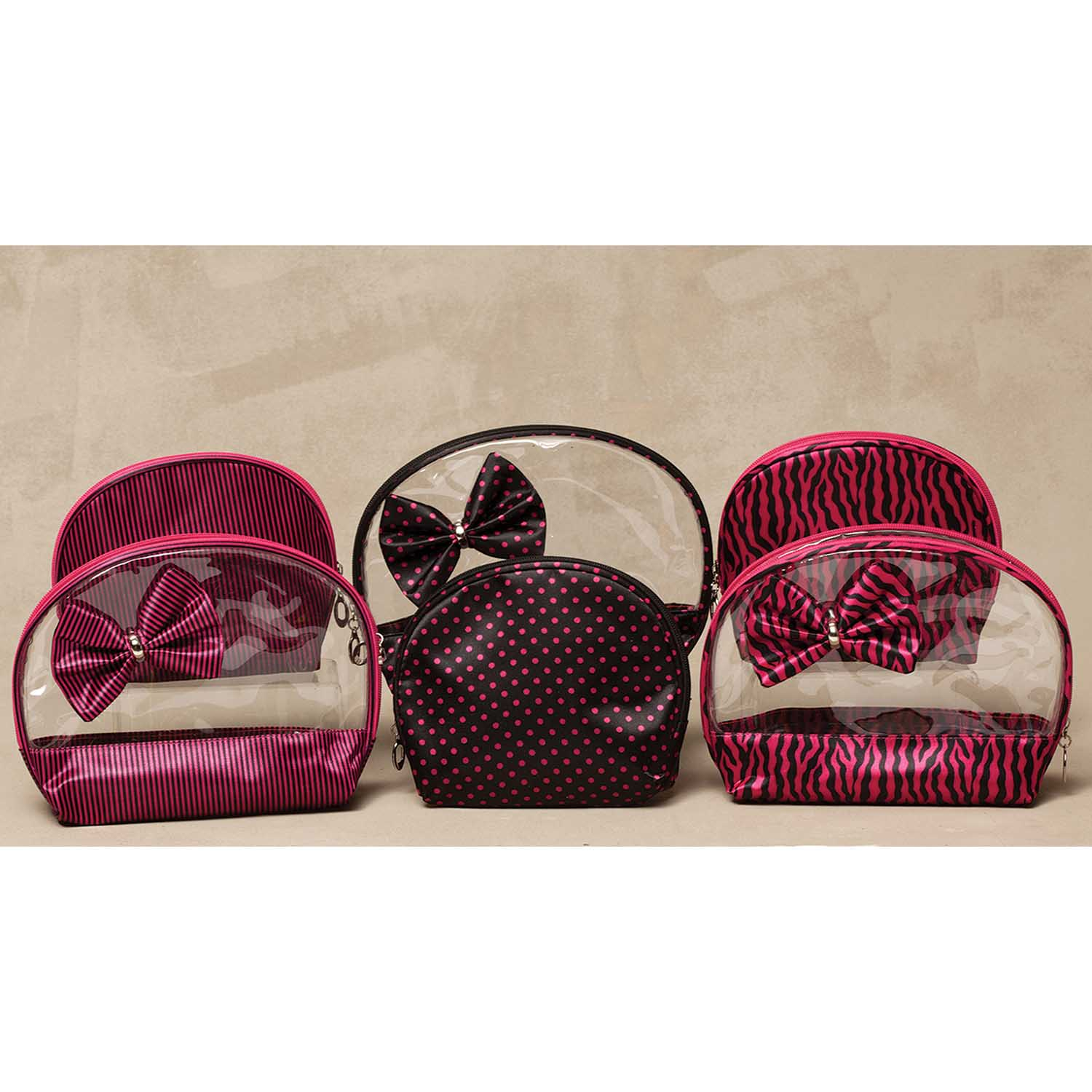 Hot Pink/Black Accessory 2 Bag Set with Bow 3 Assorted *30sp