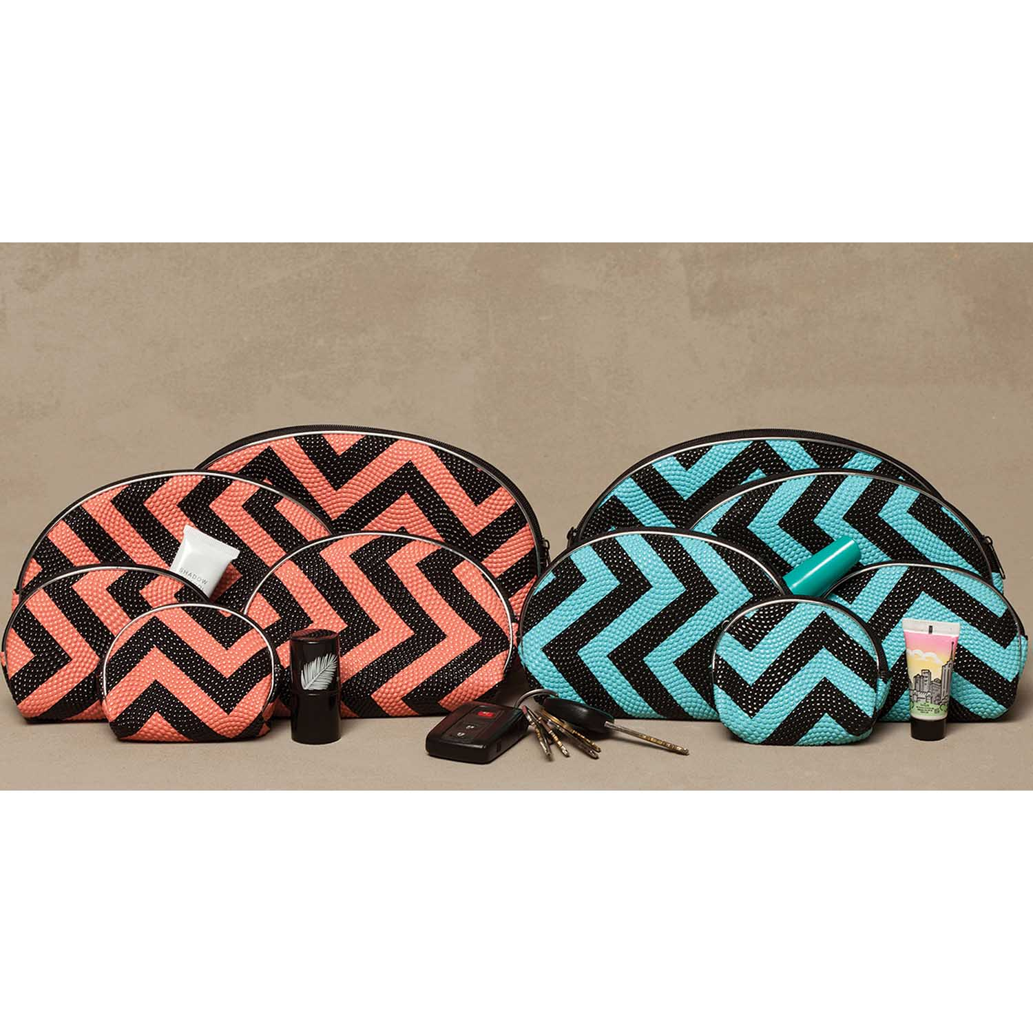 Chevron Vanity 5 Bag Set 2 Assorted Teal/Black, Melon/Black *30s