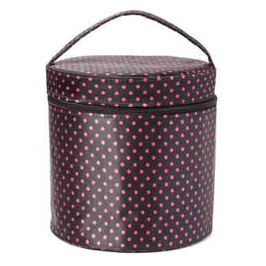 "POLKA DOT ROUND RETRO CASE PINK/BLACK 7""X7.5""X7.5"" *30sp"