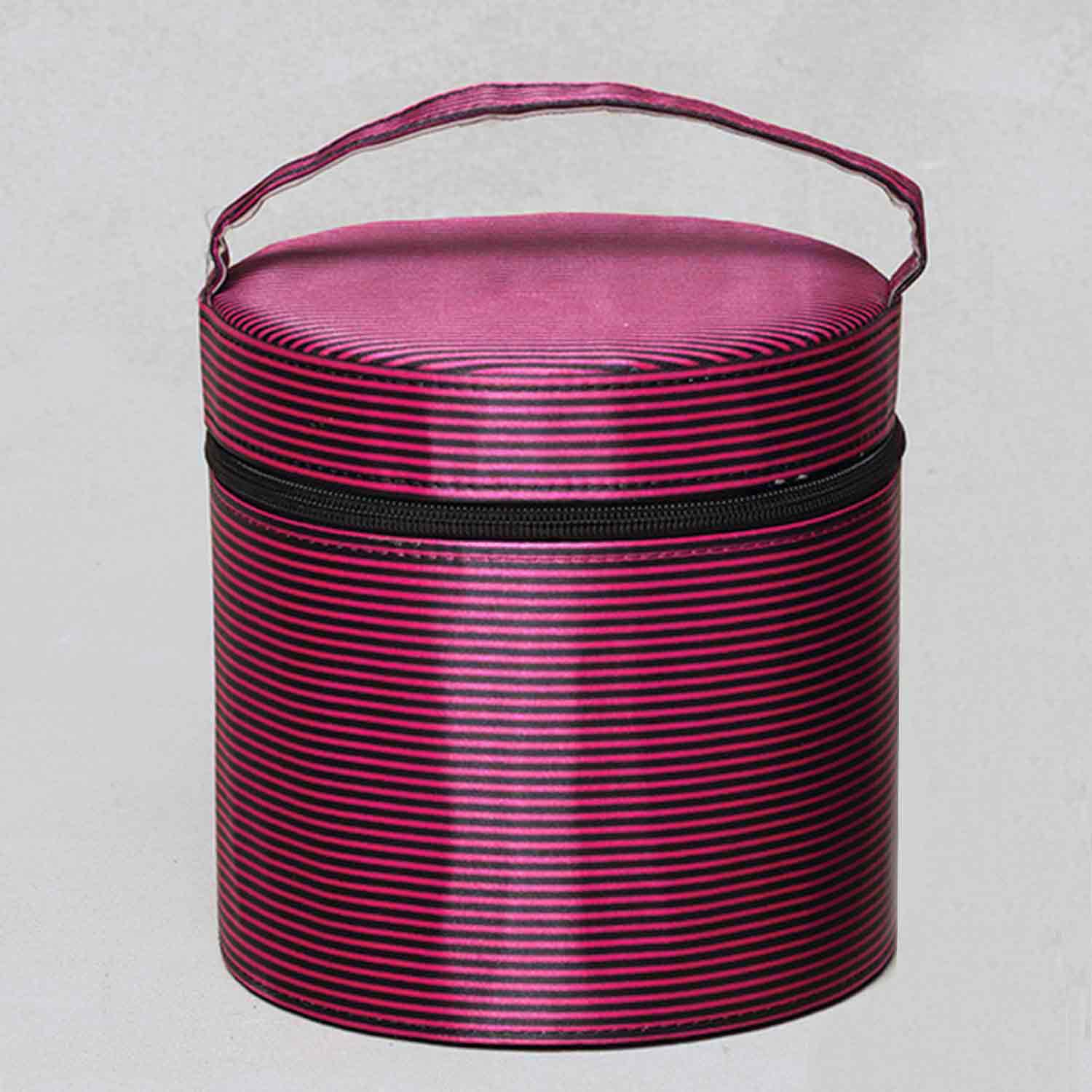 "STRIPE ROUND RETRO CASE PINK/BLACK 6.5""X6.5""X6.5"" X7249 *30sp"