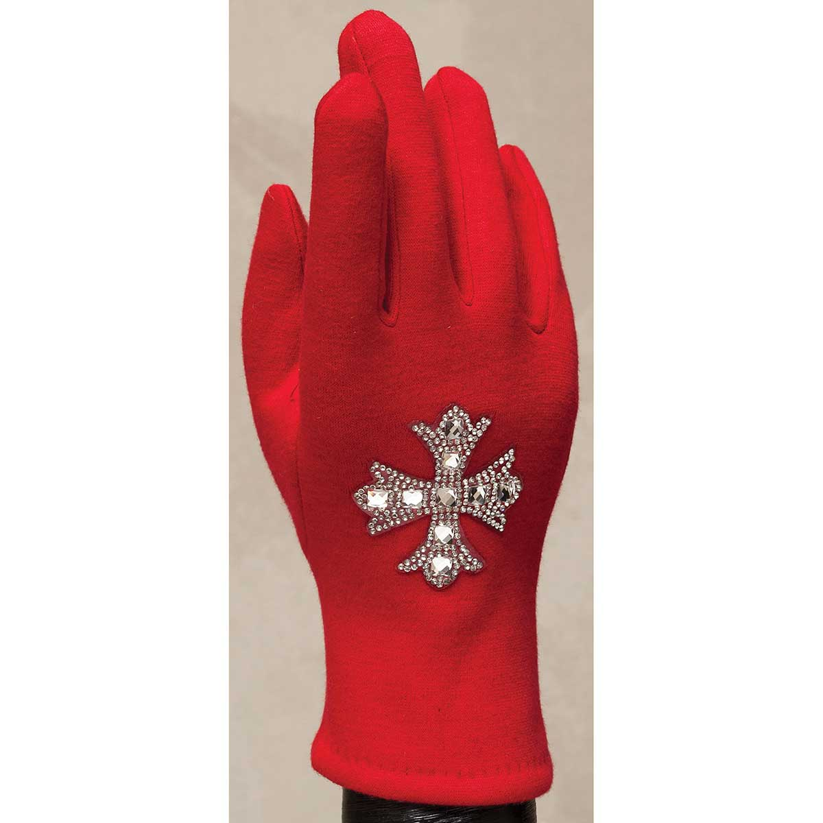 Red Gloves with Crystal Southern Cross