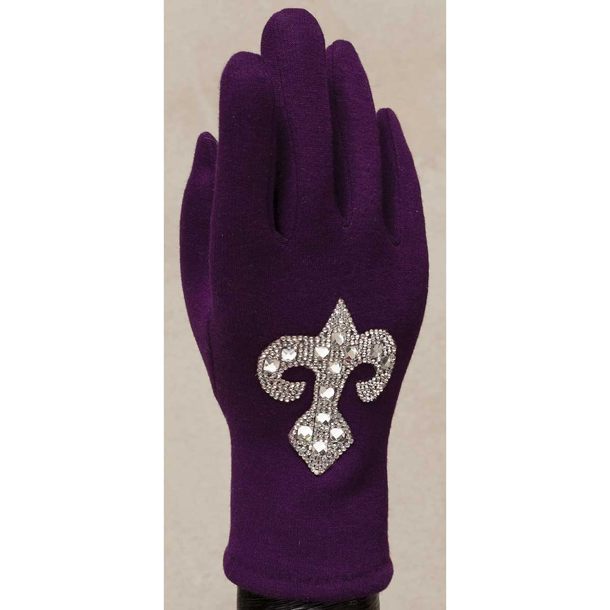 Purple Gloves with Crystal Fleur de Lis