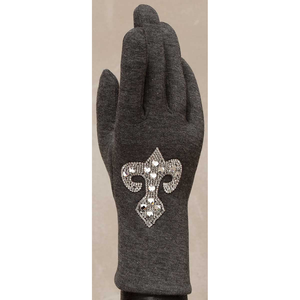 Gray Gloves with Crystal Fleur de Lis