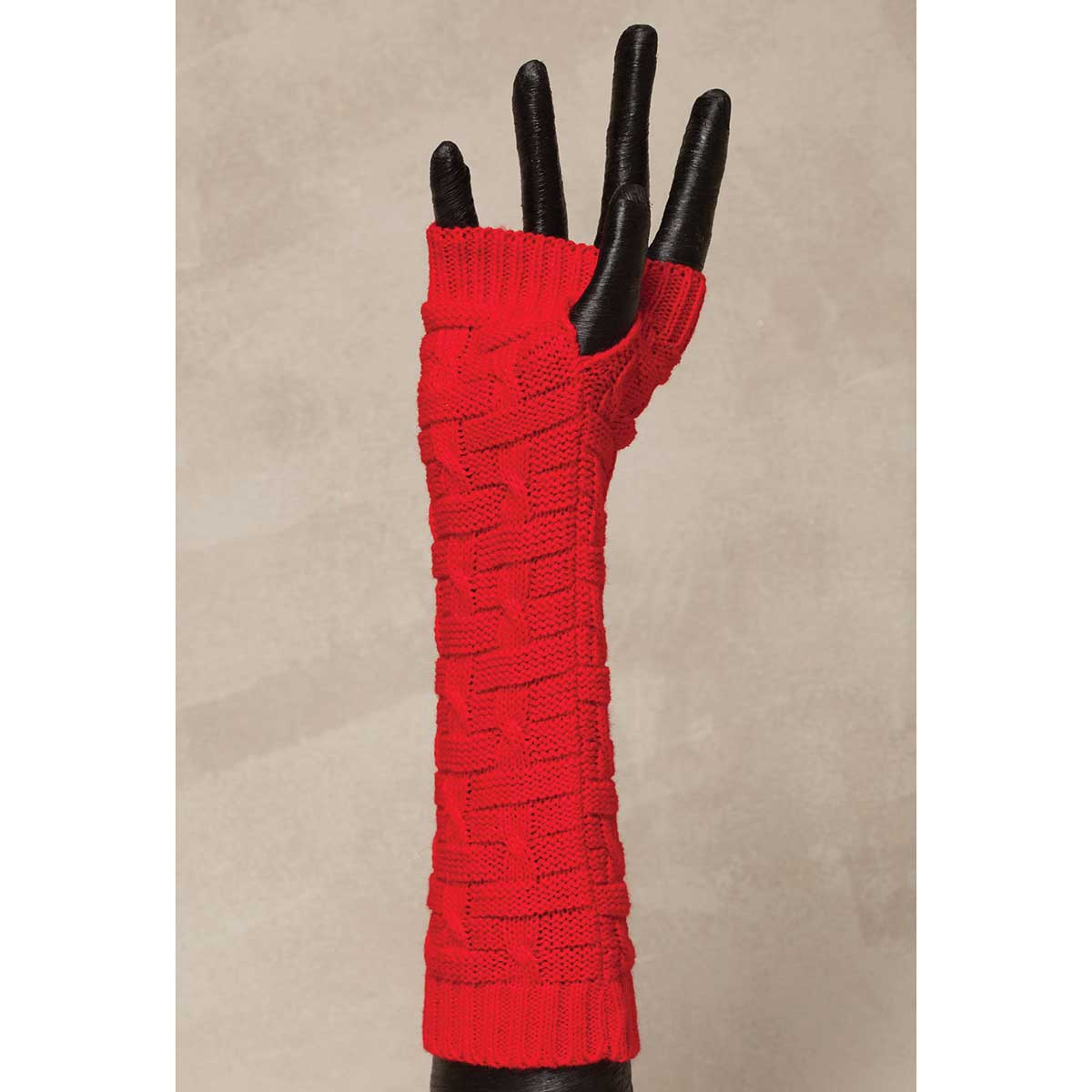 Red Knit Fingerless Gloves *30sp
