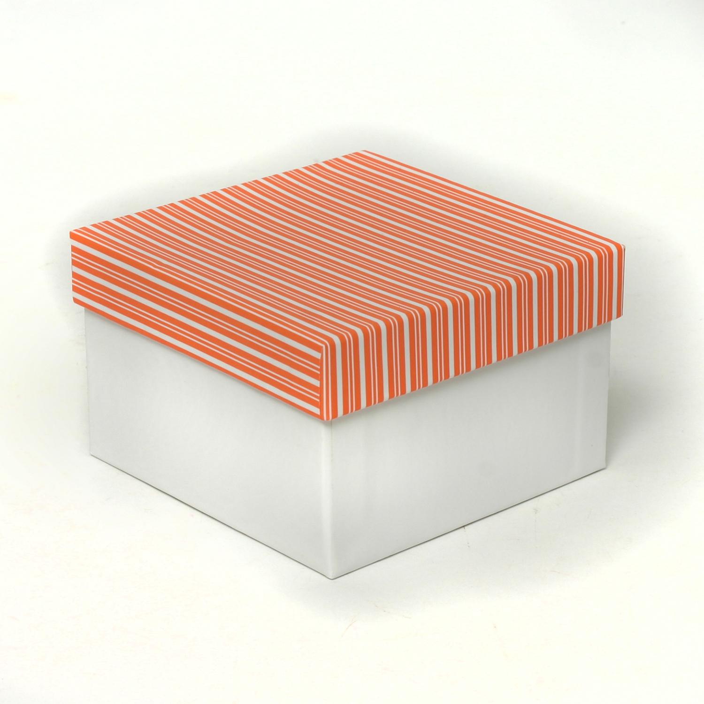 CORAL/WHITE STRIPE TOP BOX *30sp
