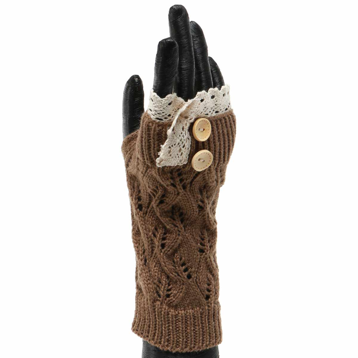 BROWN KNIT FINGERLESS GLOVE WITH LACE AND BUTTONS 50sp