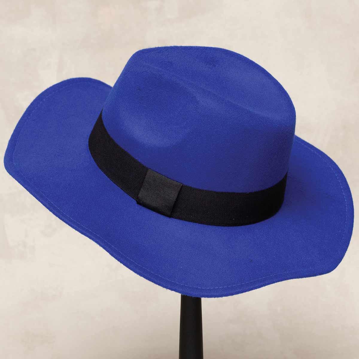 ROYAL BLUE MILAN FLOPPY BRIM HAT 50sp