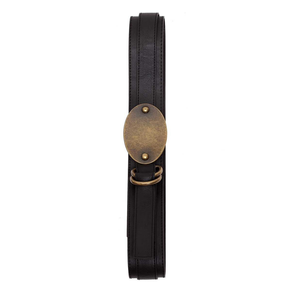 BLACK BELT WITH ANTIQUE BRONZE OVAL BUCKLE