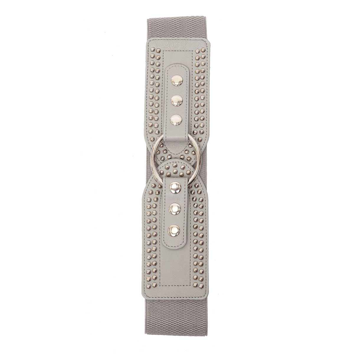 DOVE STRETCH BELT WITH RIVETS AND SILVER SNAP BUCKLE