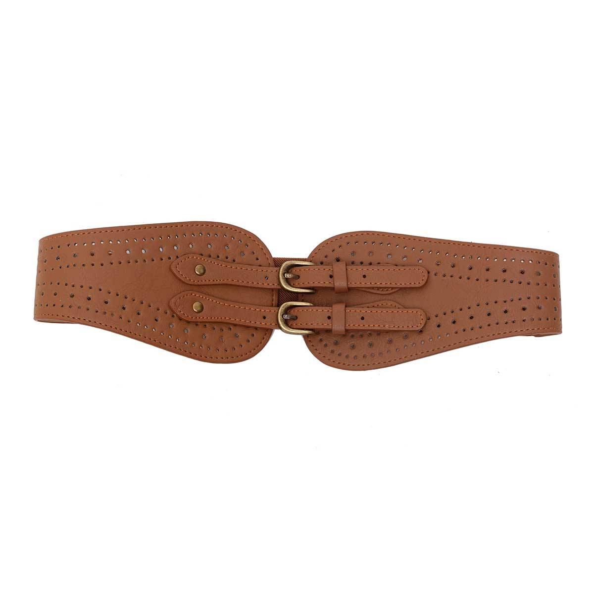 CHESTNUT PUNCH OUT DESIGN STRETCH BELT WITH BRONZE BUCKLE