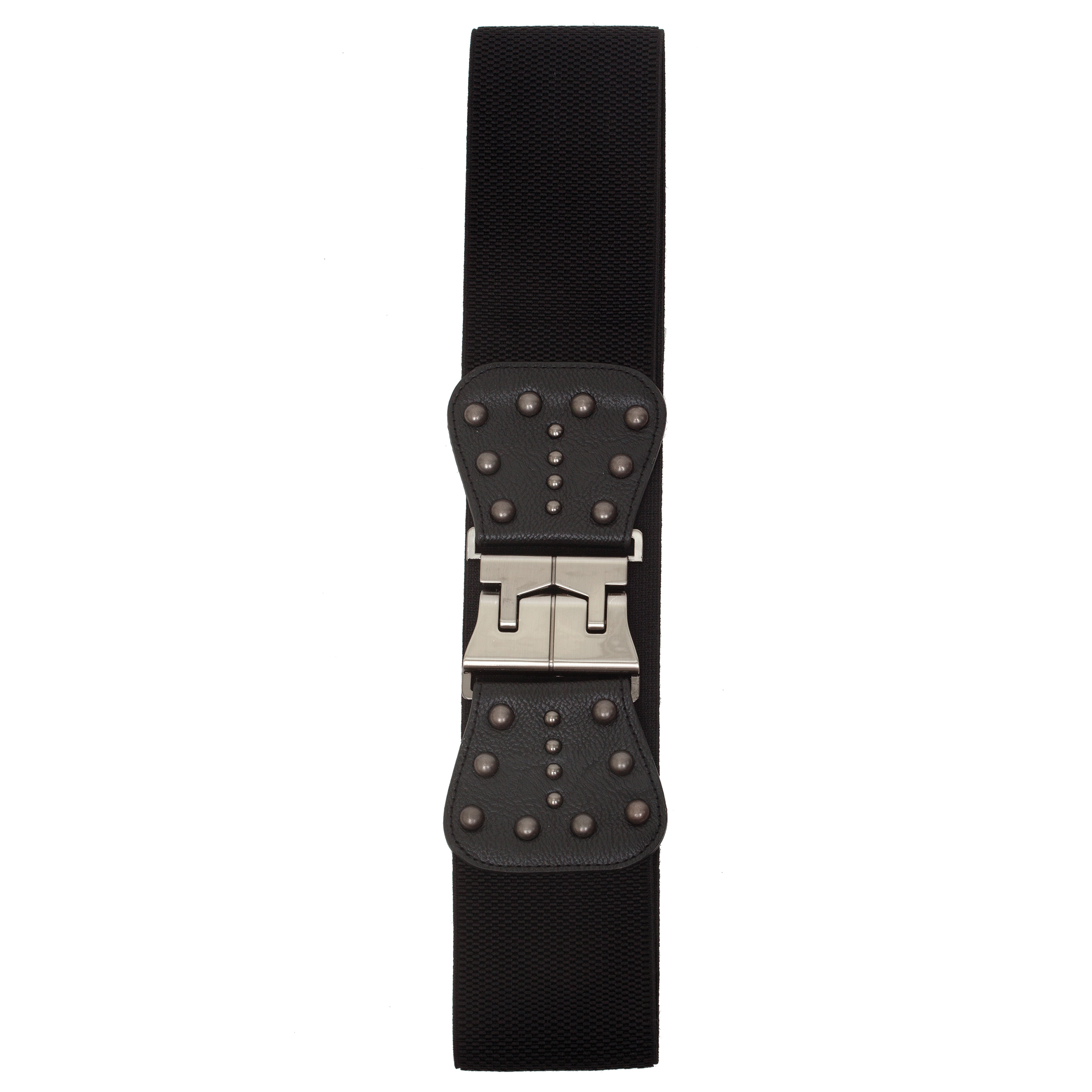 "Black 3.25"" Wide Stetch Belt with Pewter Buckle and Rivet Accent"