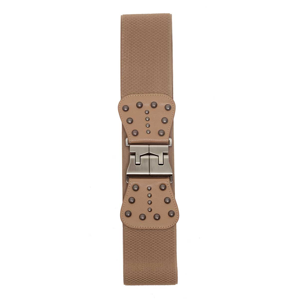 "Tan 3.25"" Wide Stetch Belt with Pewter Buckle and Rivet Accents"