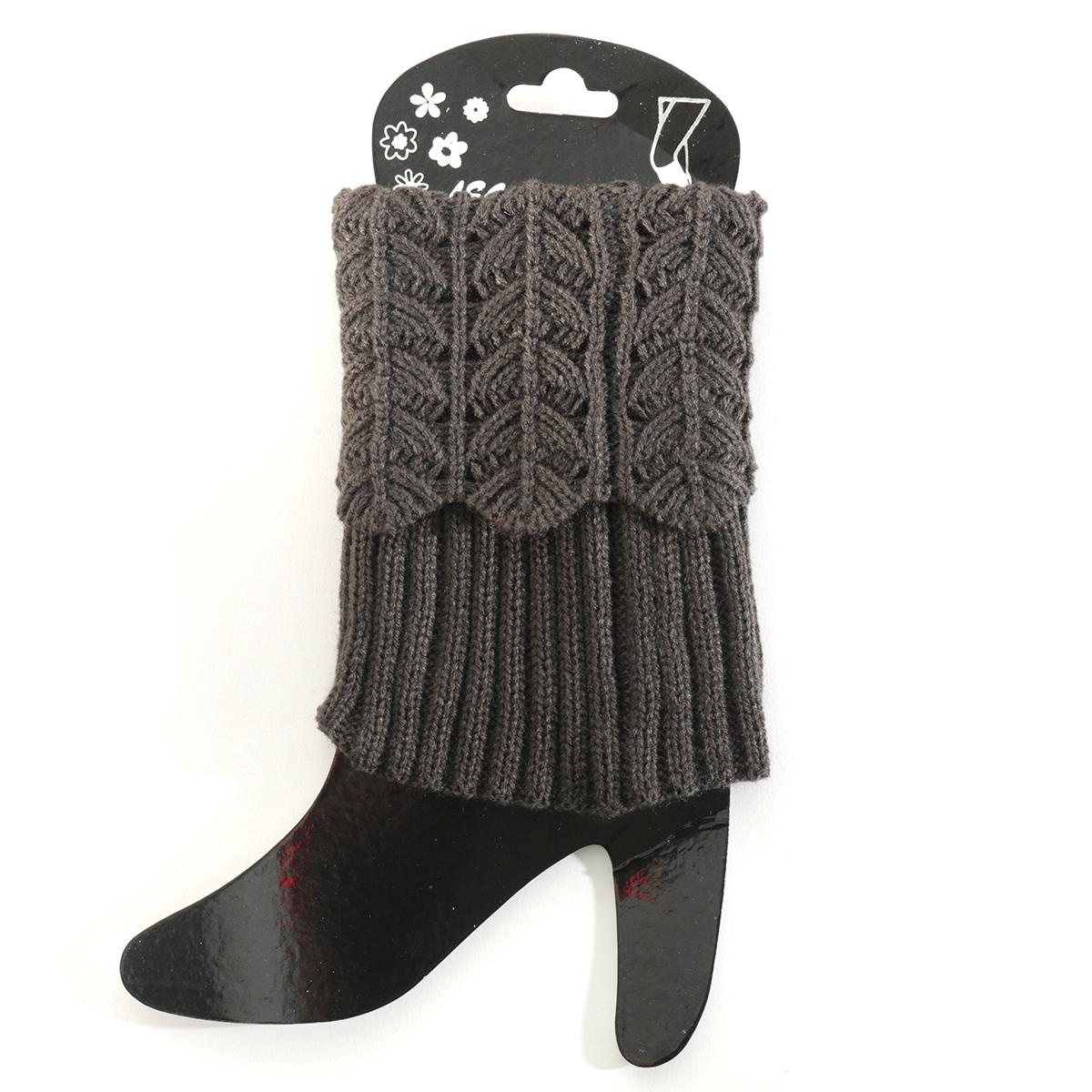 Dark Grey Crochet Boot Cuff Short