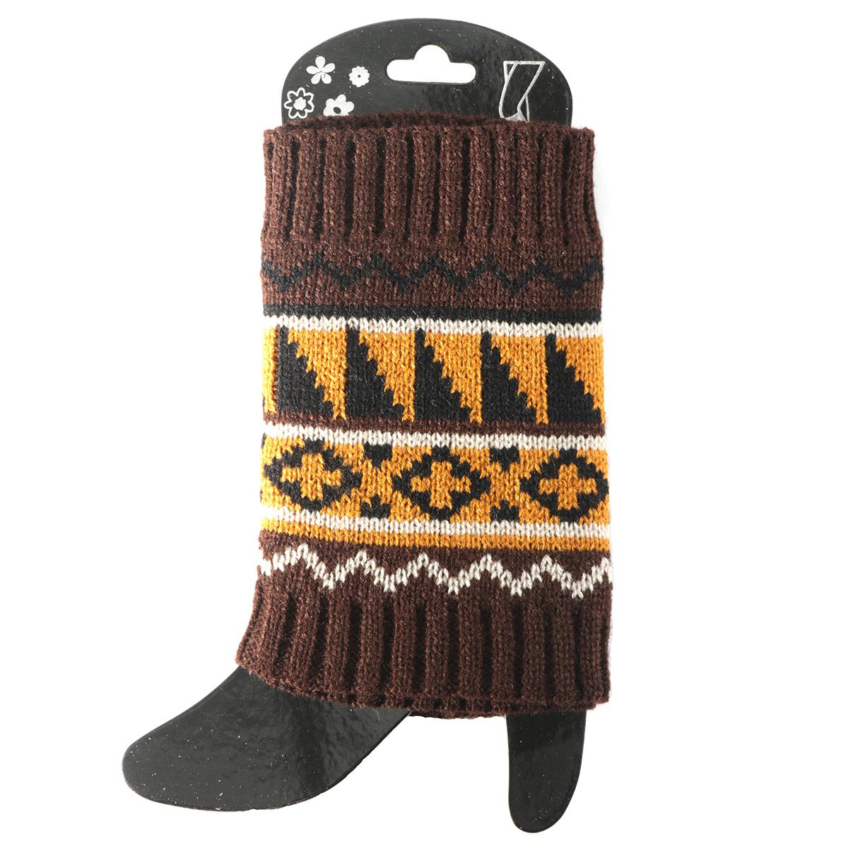 Brown/Orange Sweater Boot Cuff Short