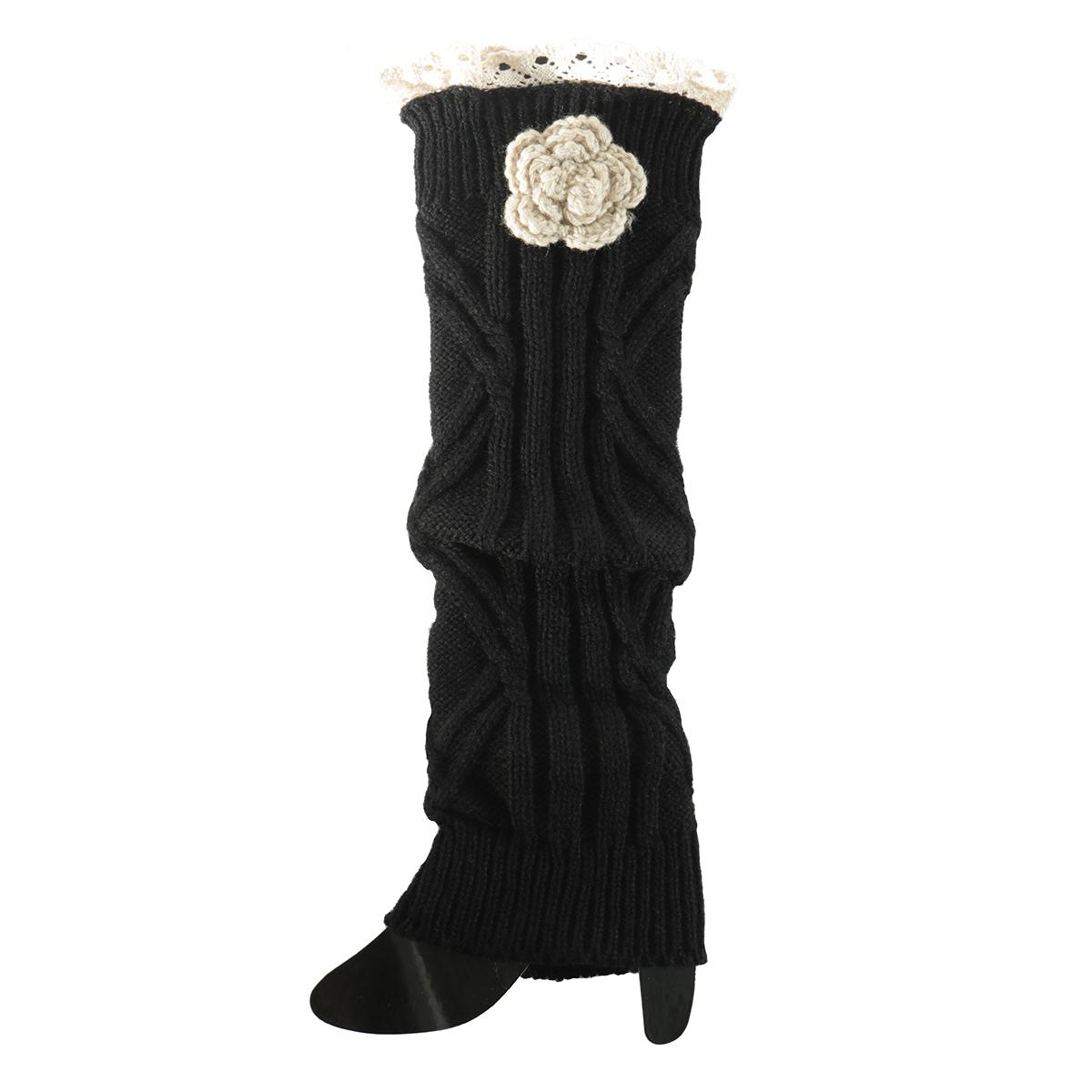 Black Crochet Flower Boot Cuff