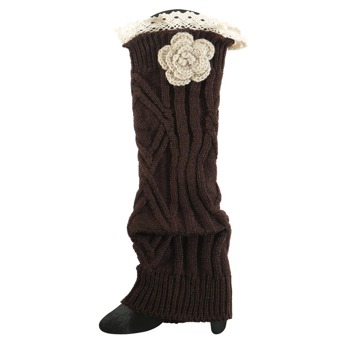 Brown Crochet Flower Boot Cuff