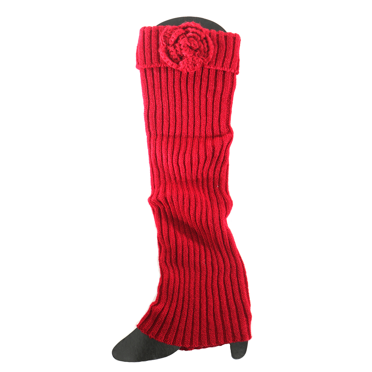 Burgundy Boot Cuff with Flower Tall