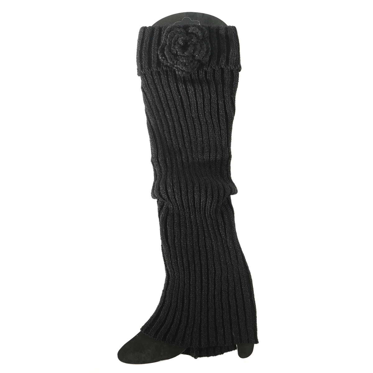 Black Boot Cuff with Flower Tall