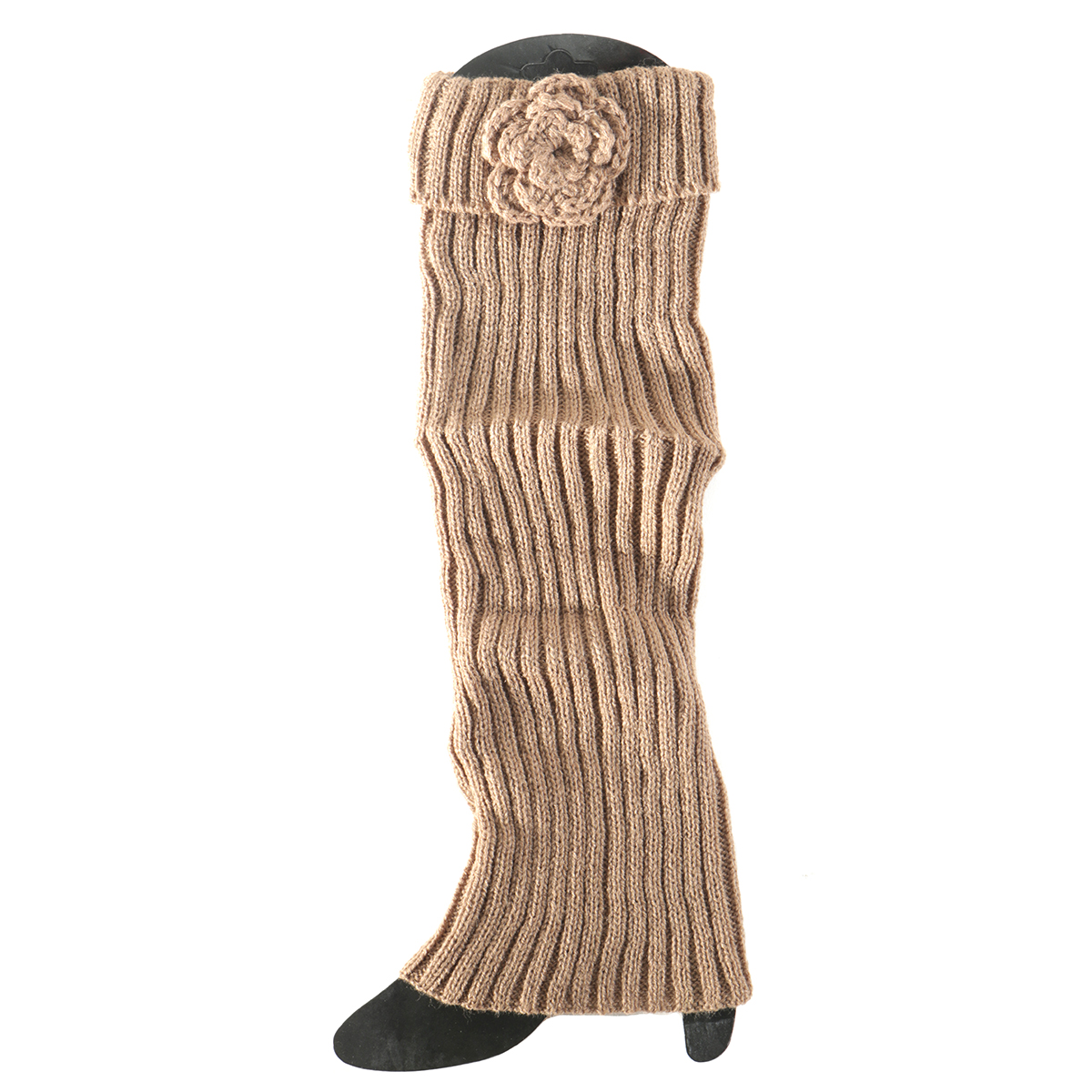 Tan Boot Cuff with Flower Tall