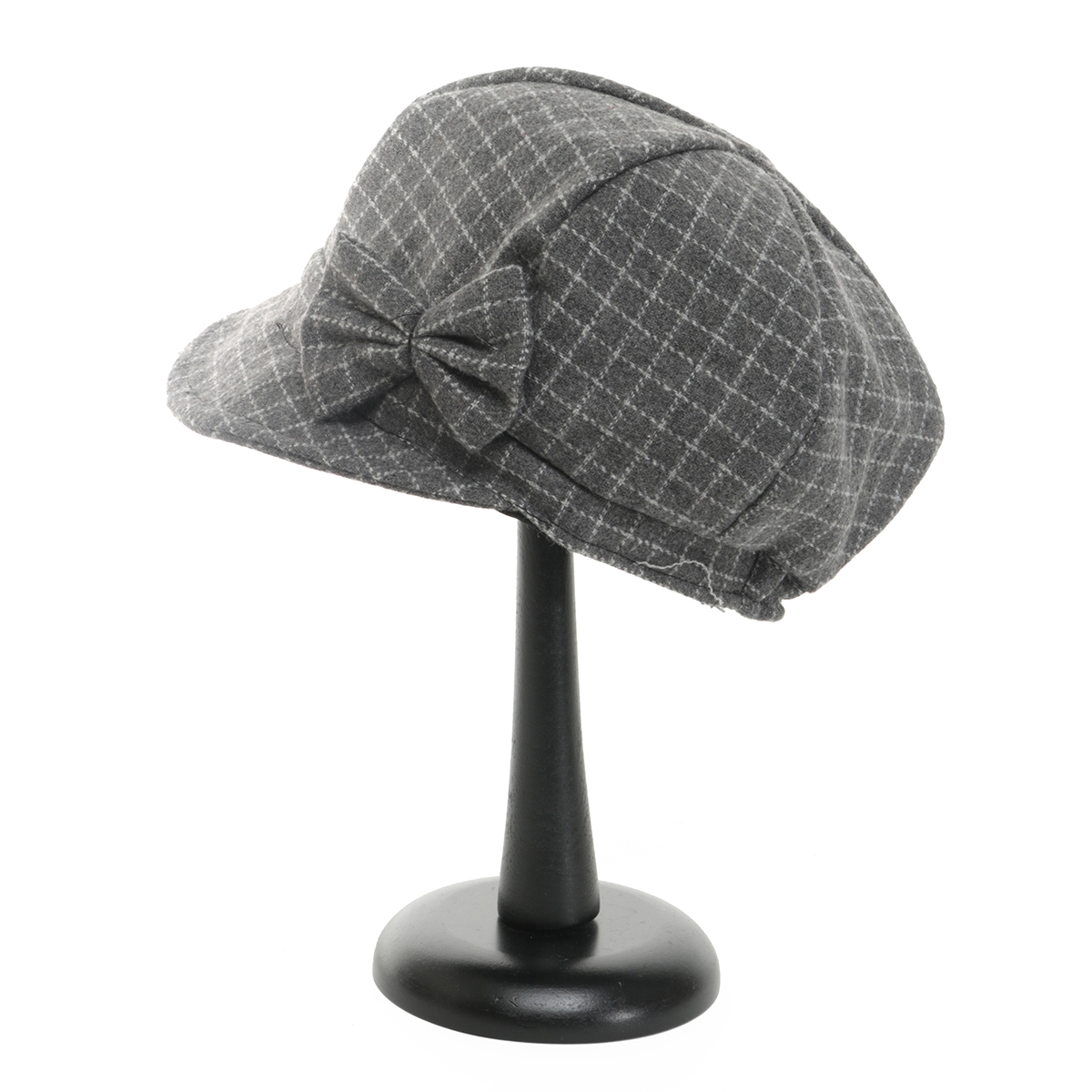 Grey Plaid Cap with Bow 50sp