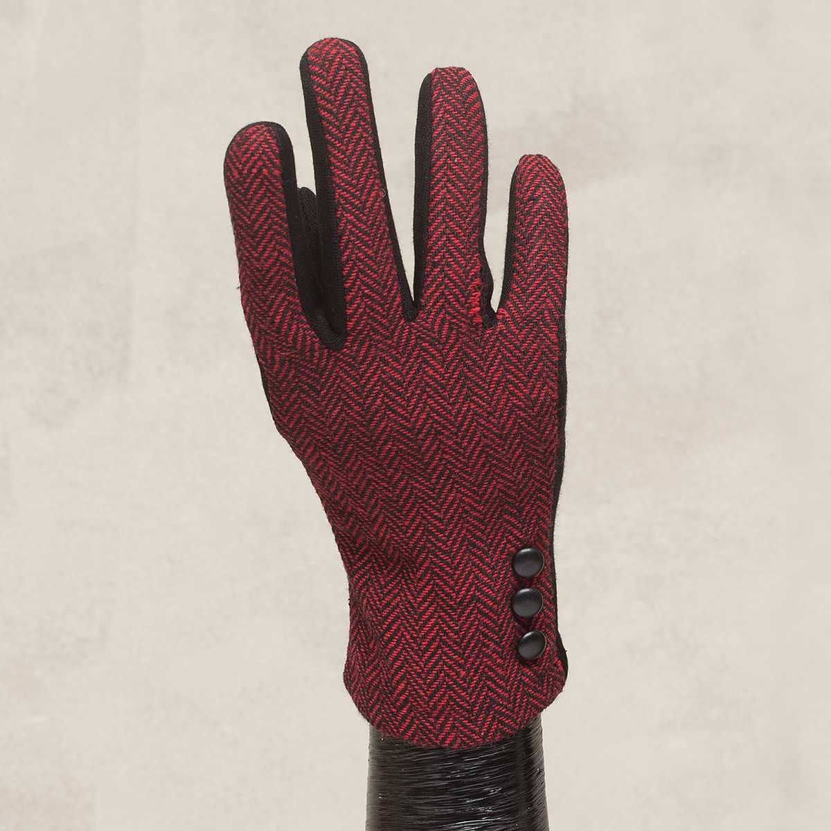 Red Herringbone Glove with Button