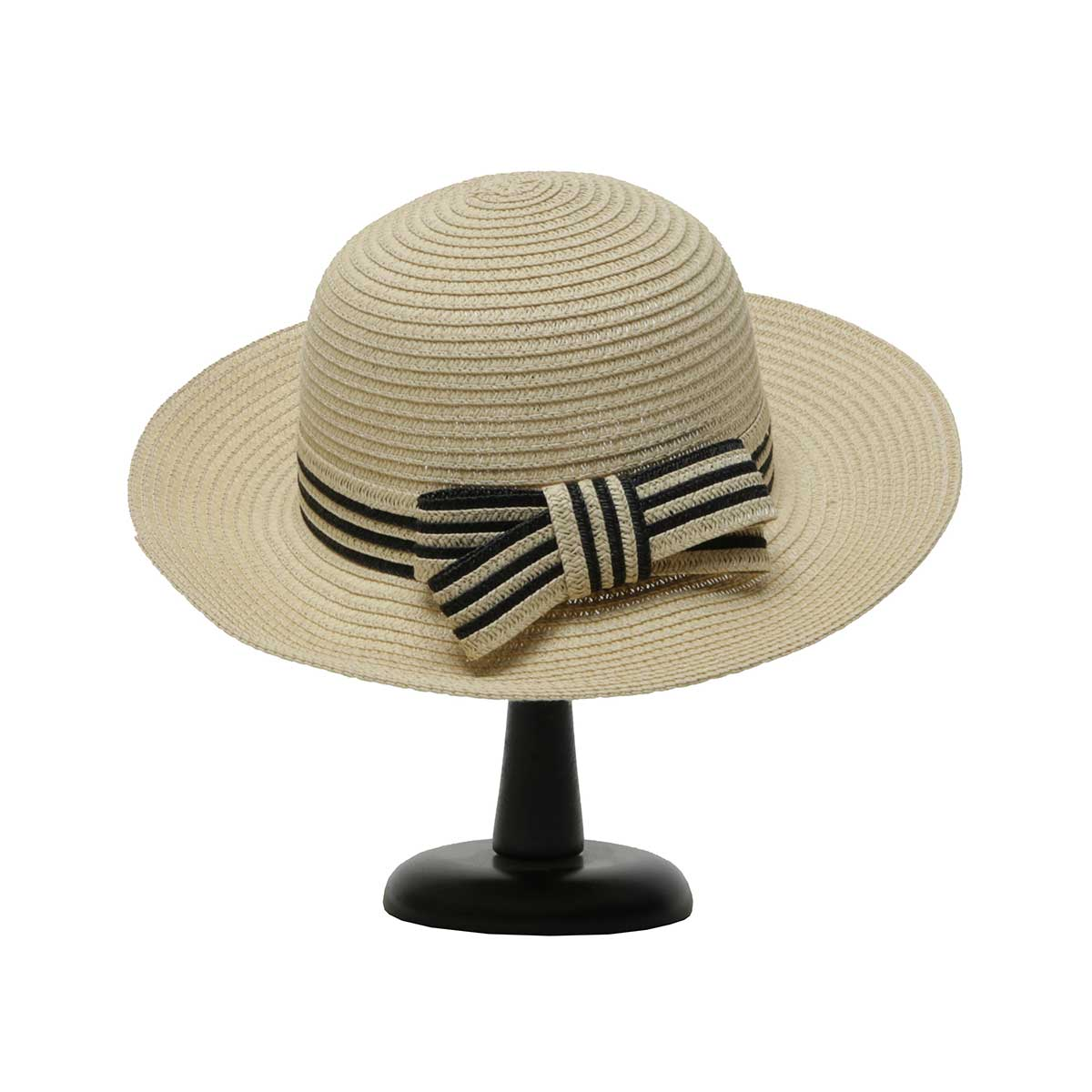 Beige Bowler Hat with Black and Beige Trim and Bow