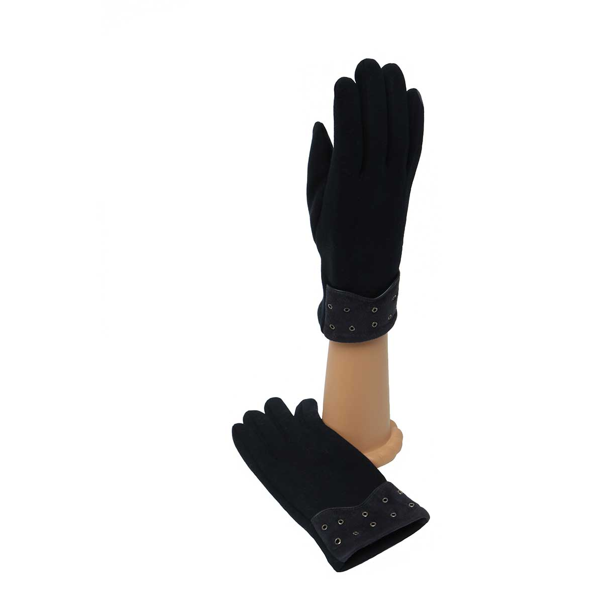 Navy Gloves with Rivet Cuff