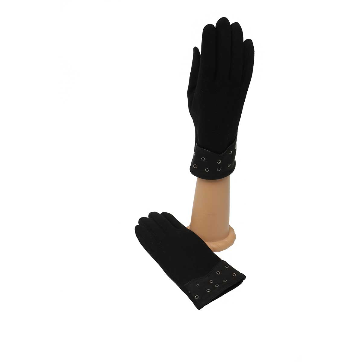 Black Gloves with Rivet Cuff