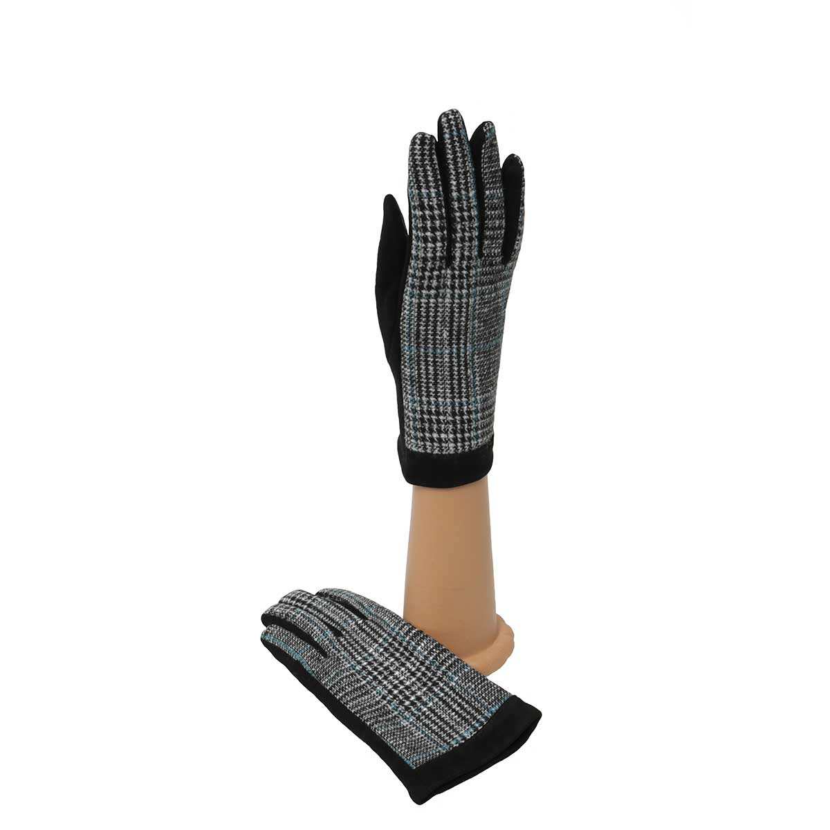 Black and Teal Plaid Gloves with Black Palm
