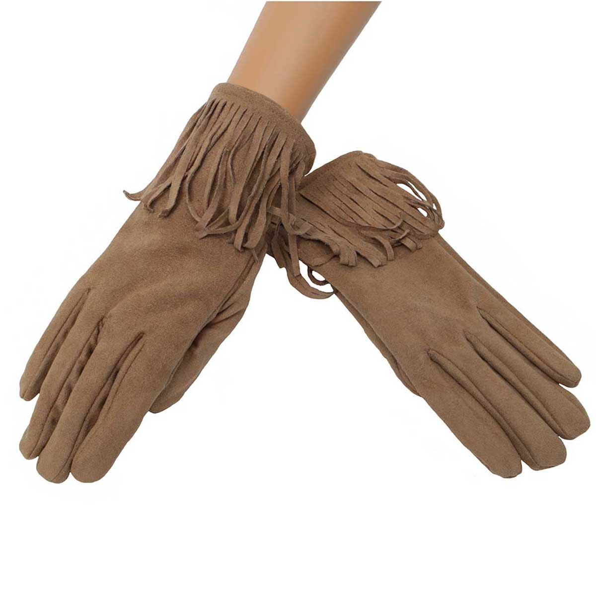 Tan Suede Gloves with Fringe