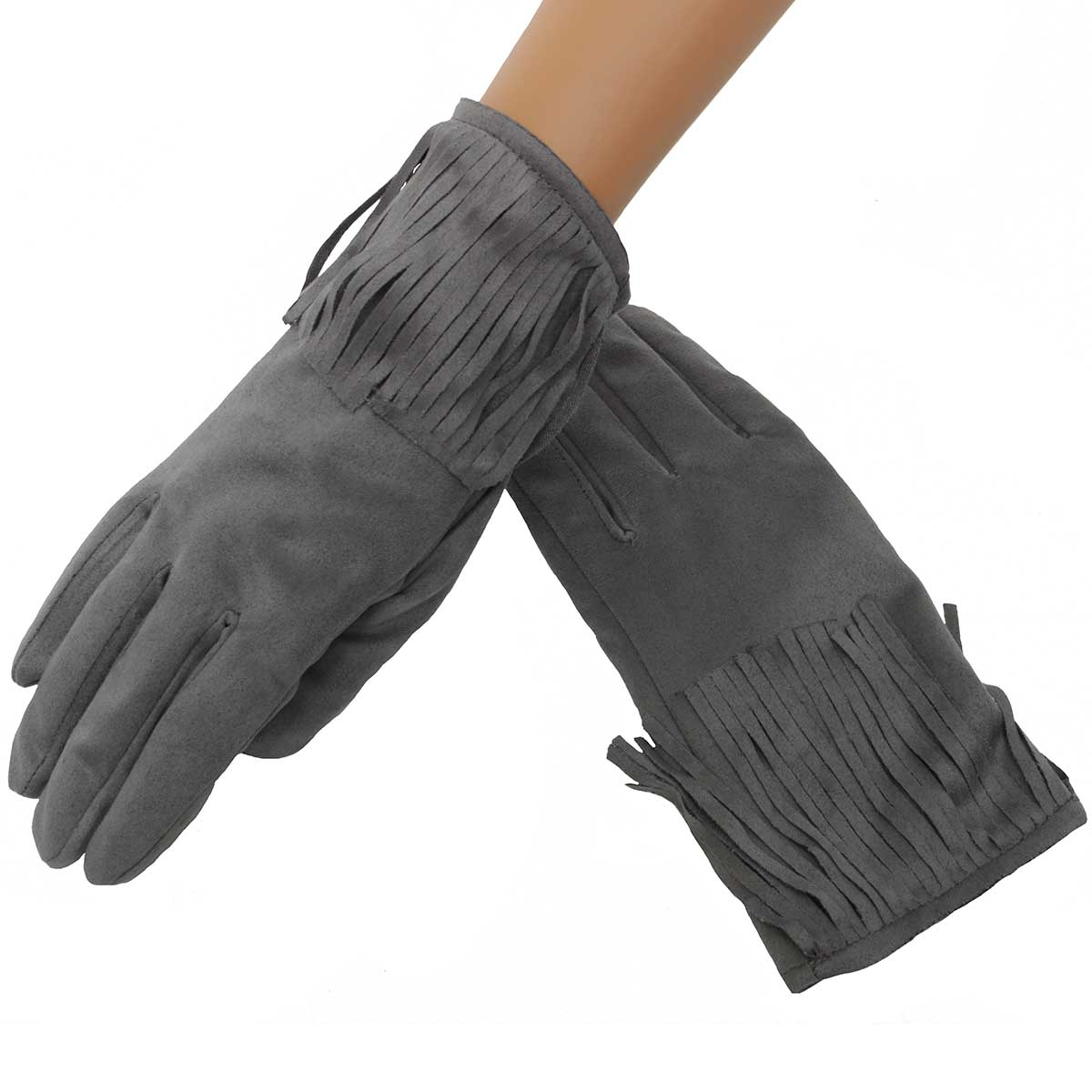 Grey Suede Gloves with Fringe