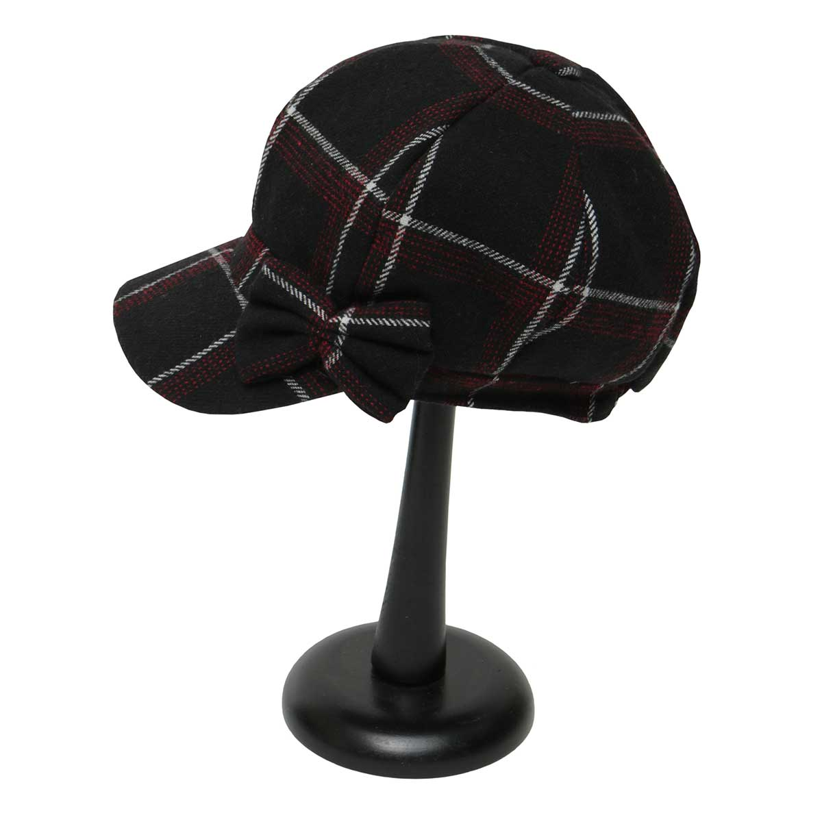 Black and Burgundy Plaid Slouch Hat