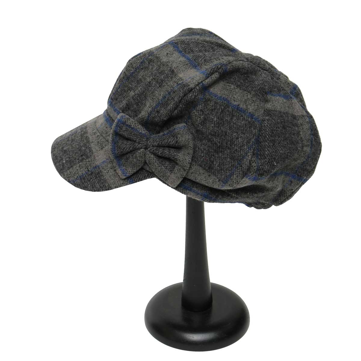 Grey and Blue Plaid Slouch Hat