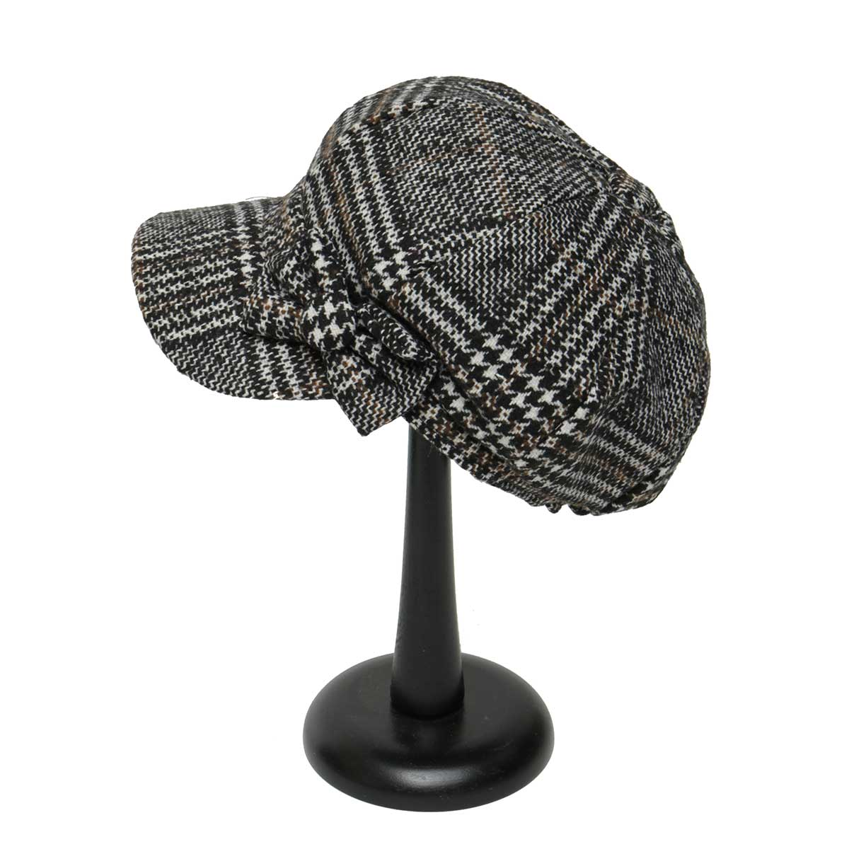 Black and Tan Plaid Slouch Hat with Bow