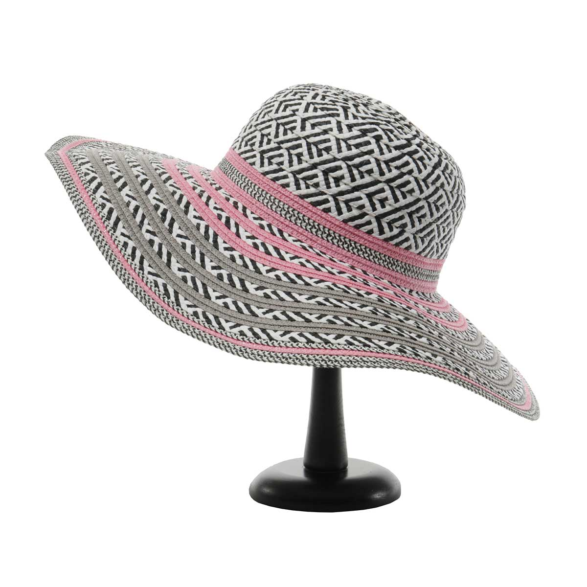 Grey/Pink/Black Panama Hat