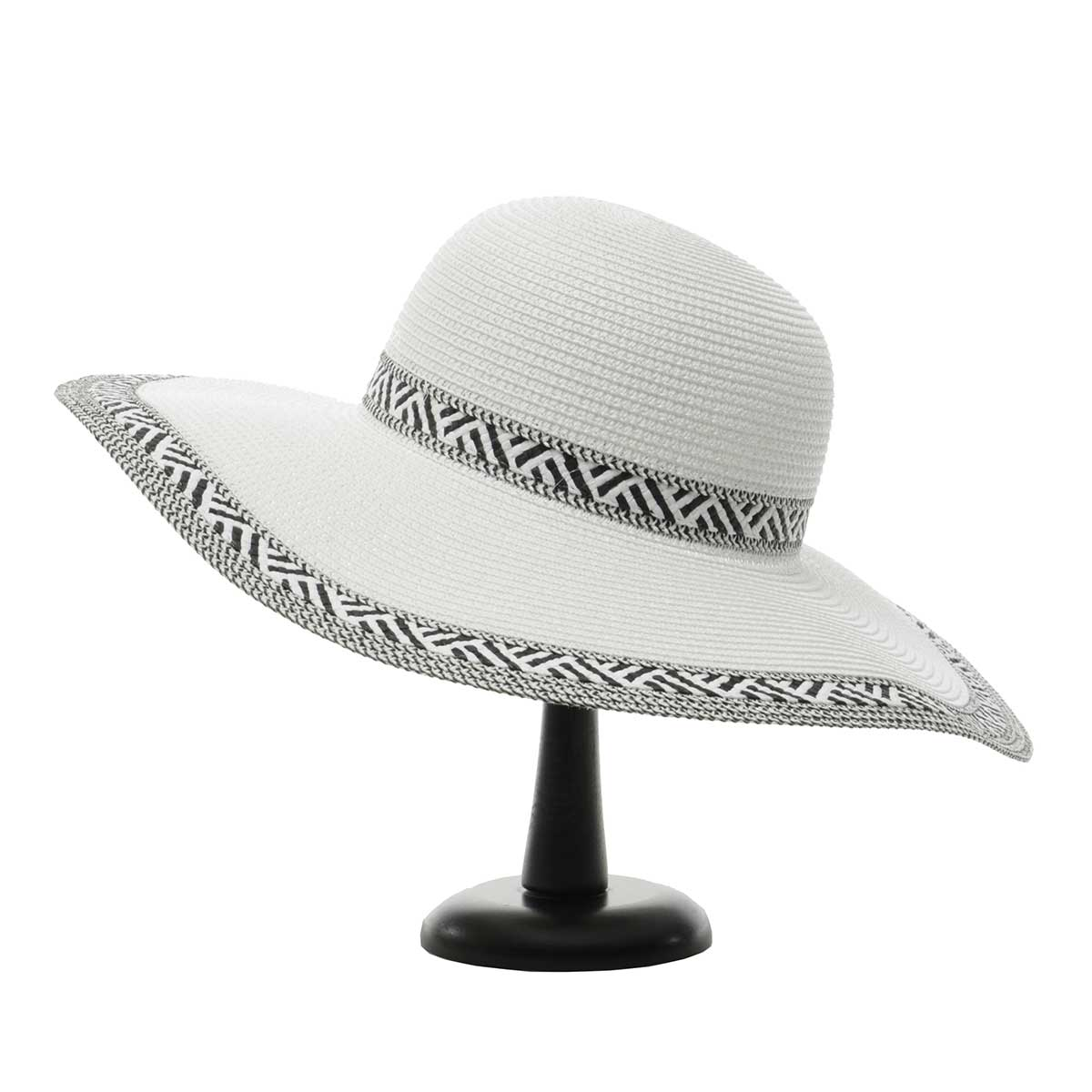 White Panama Hat with Black/White Trim