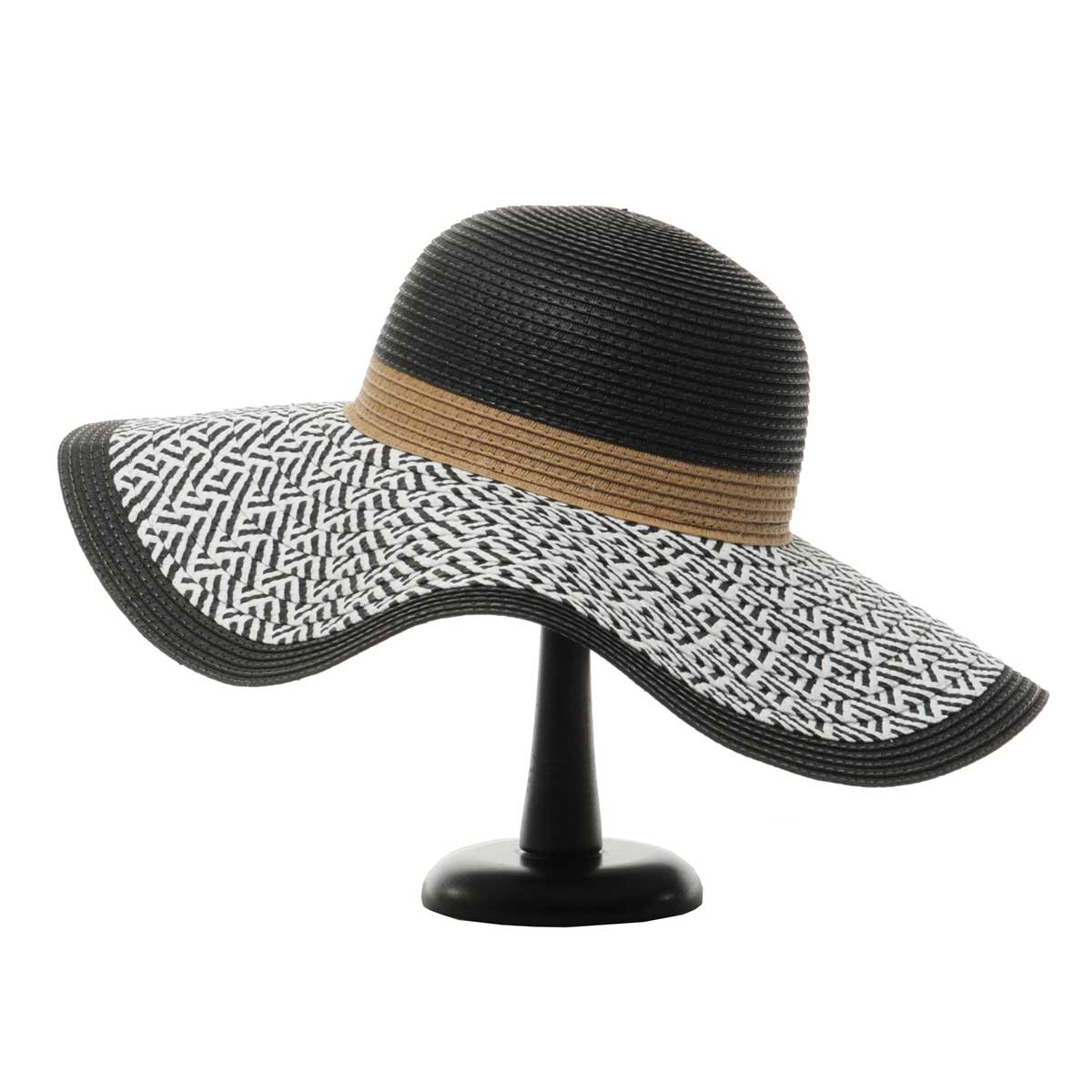 Black/White Panama Hat with Tan Band