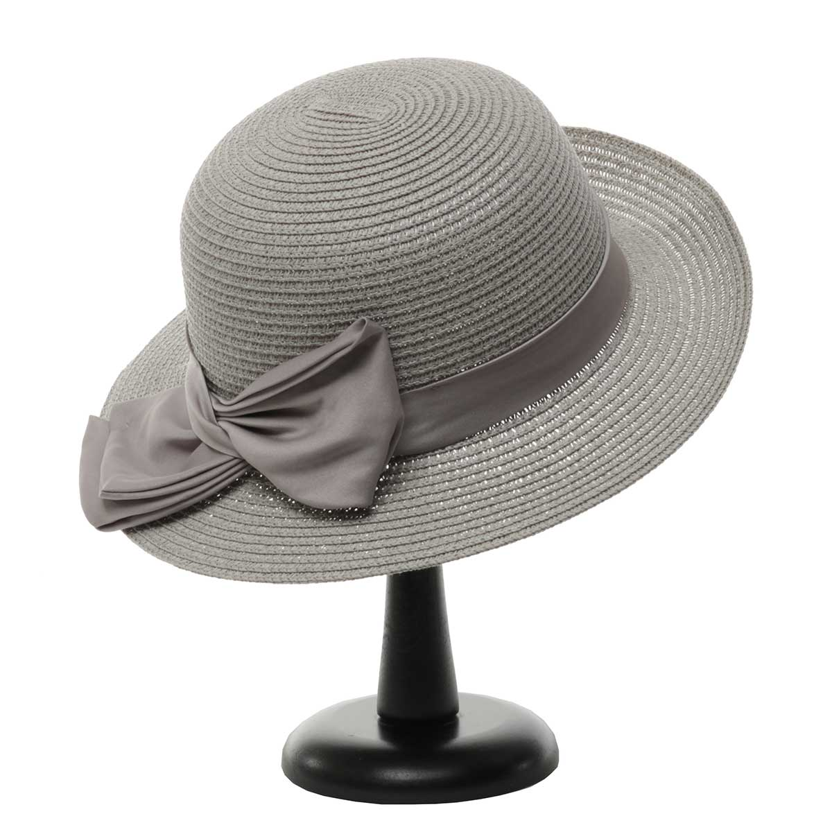 Grey British Sun Hat with Tie Trim