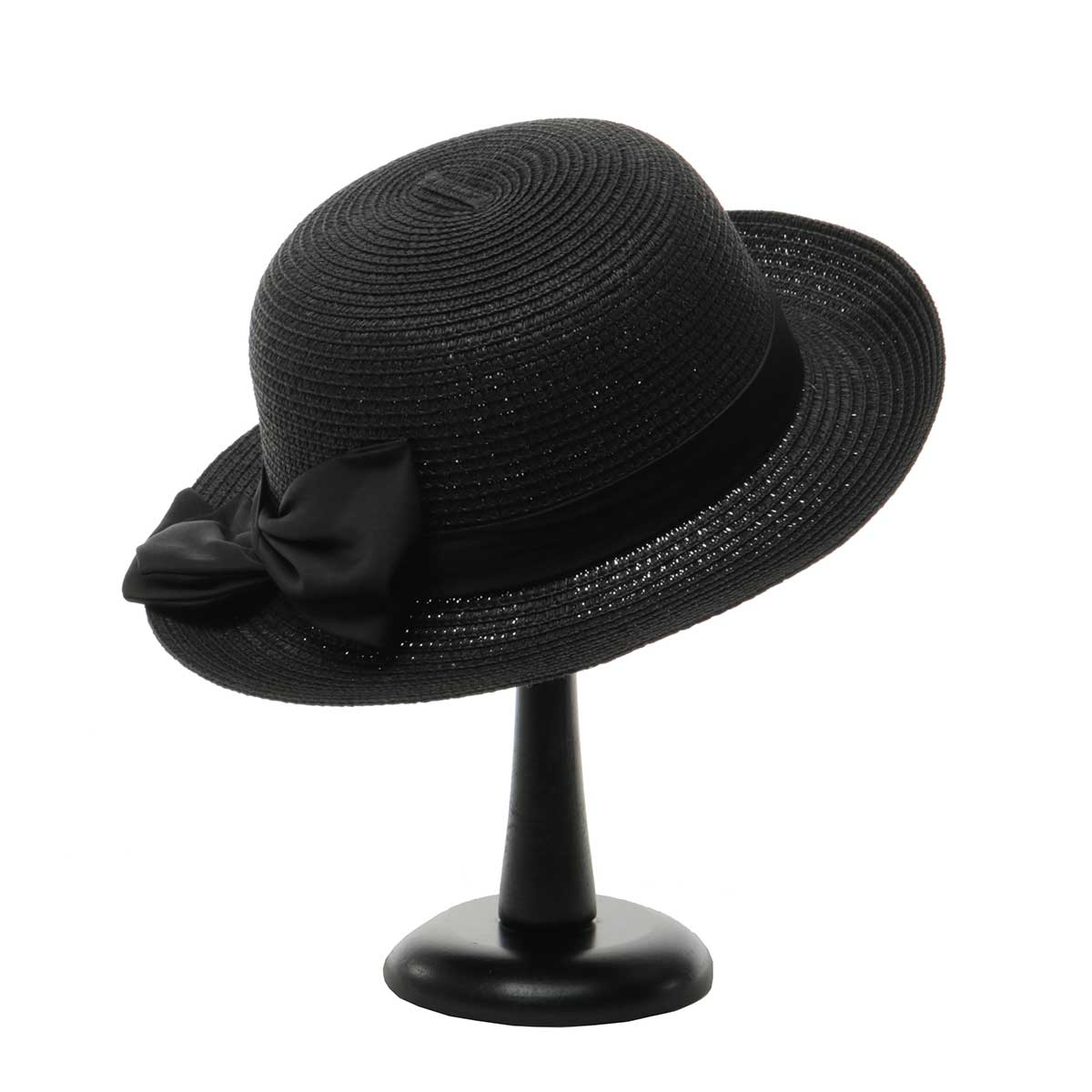 Black British Sun Hat with Tie Trim