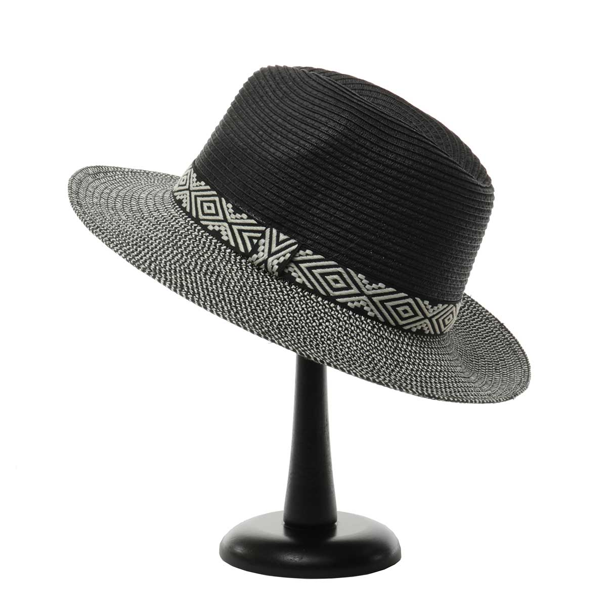 Black Herringbone Hat with Aztec Trim