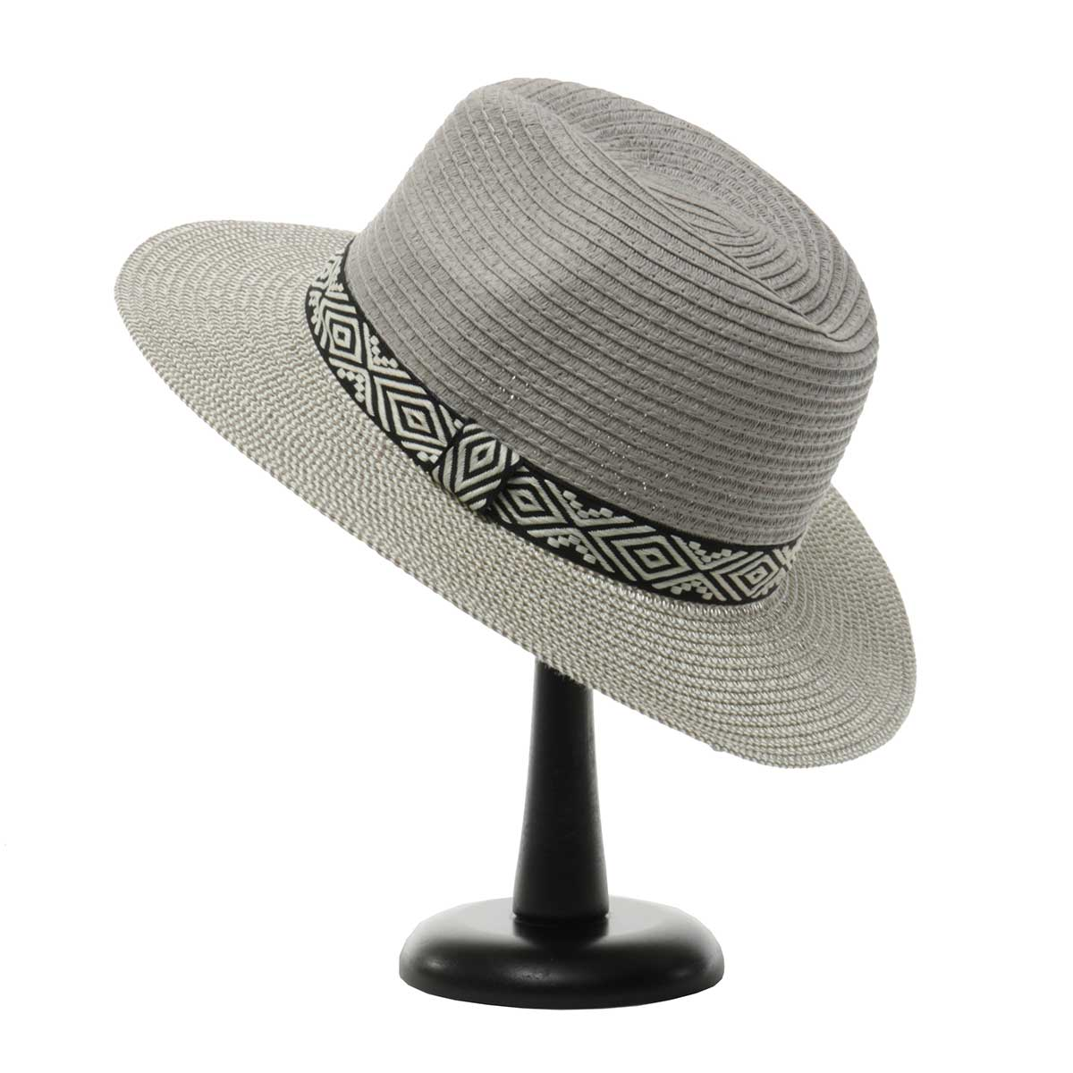 Grey Herringbone Hat with Aztec Trim