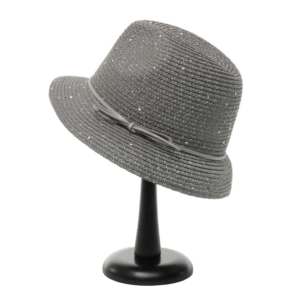 Grey Sparkle Derby Hat with Bow Trim
