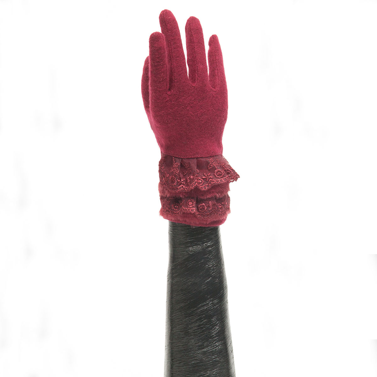 Burgundy Glove with Lace Ruffle and Fur Trim X7918