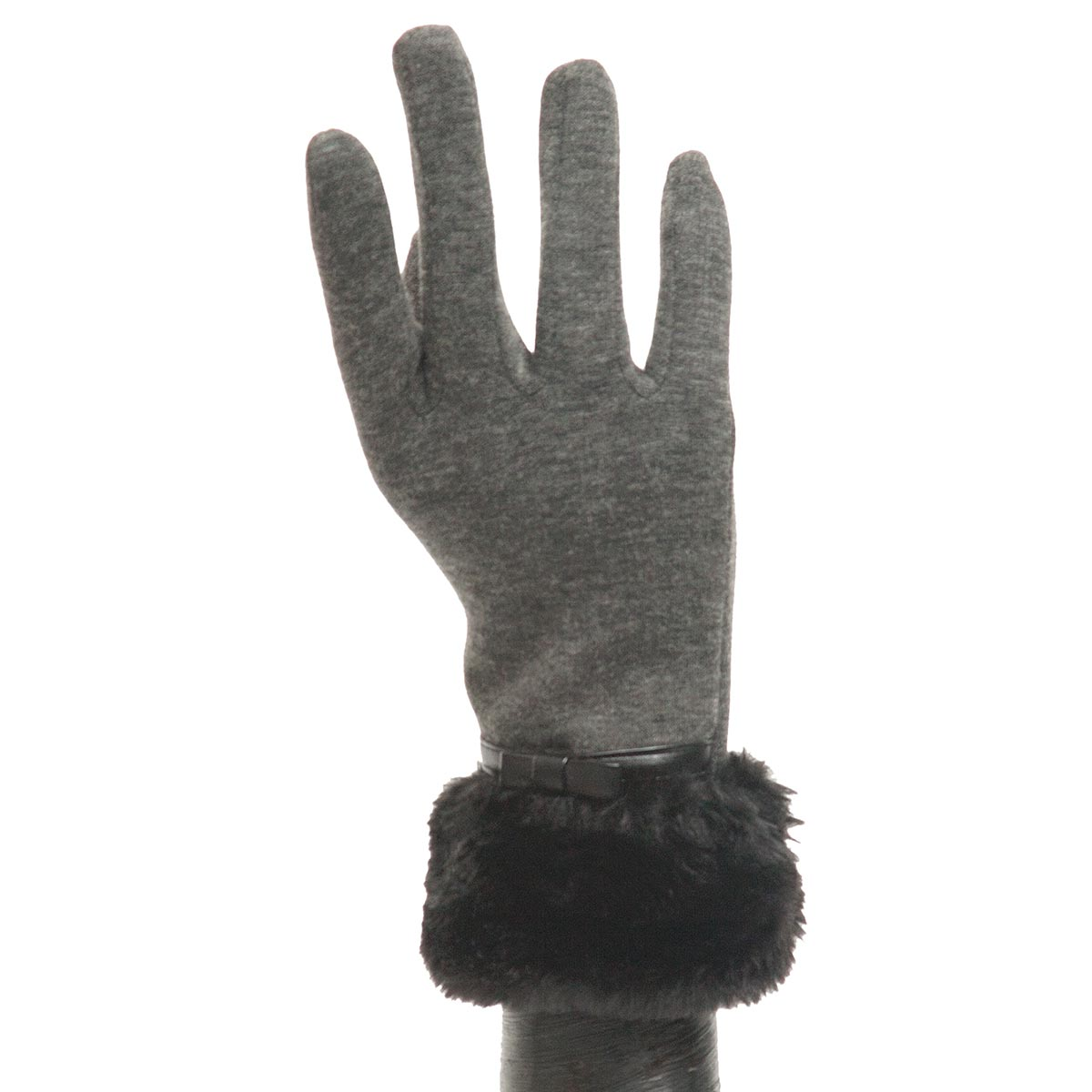 Grey Glove with Fur and Bow X7921