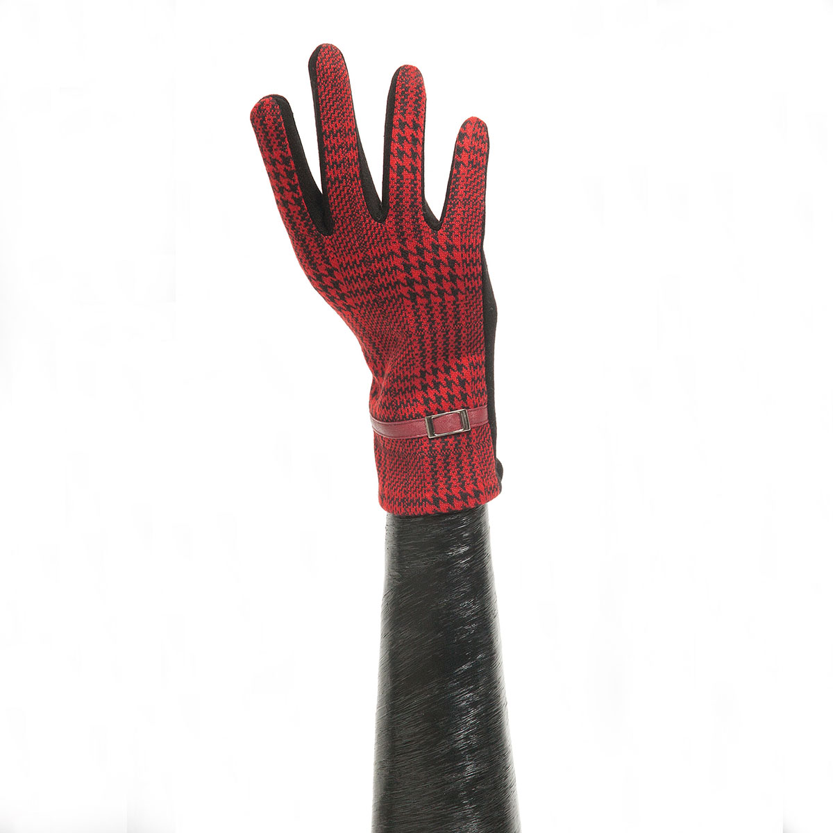Red/Black Houndstooth Glove with Buckle and Black Palm X7923