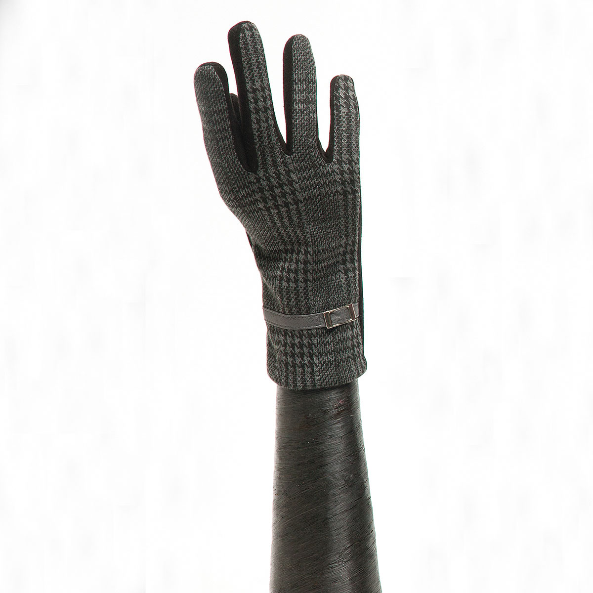 Grey/Black Houndstooth Glove with Buckle and Black Palm X7924