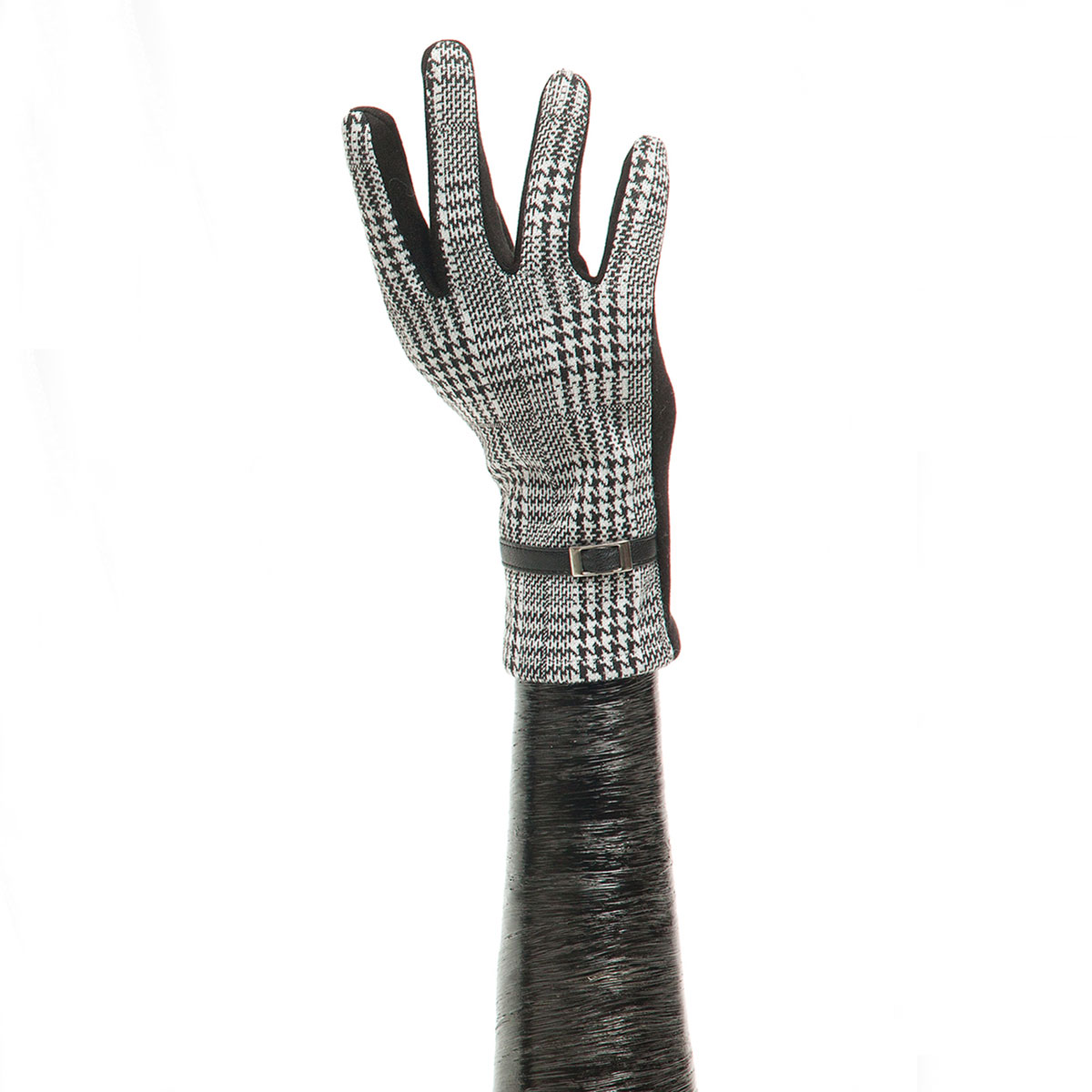 Black/White Houndstooth Glove with Buckle and Black Palm X7925
