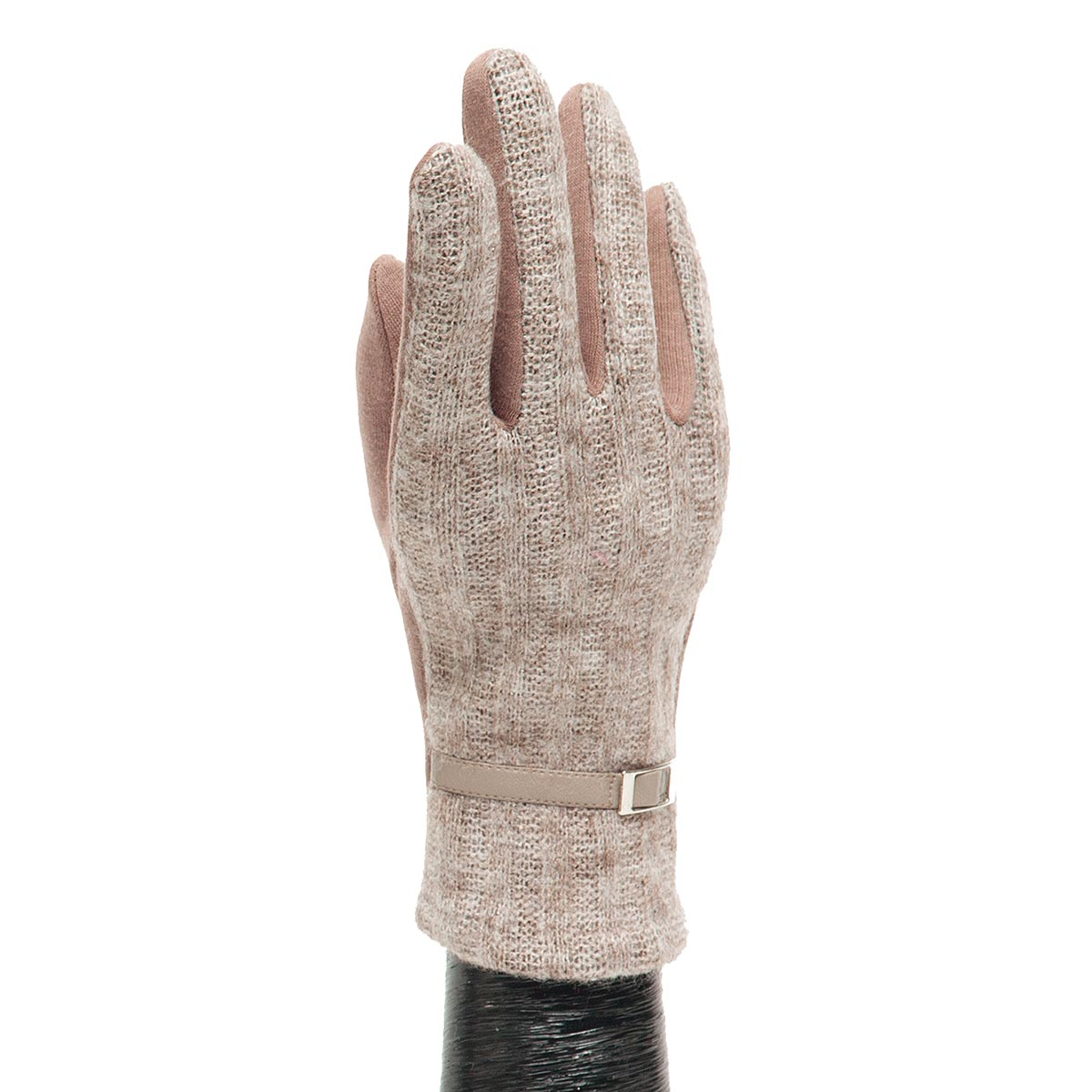 Tan Sweater Glove with Buckle X7934