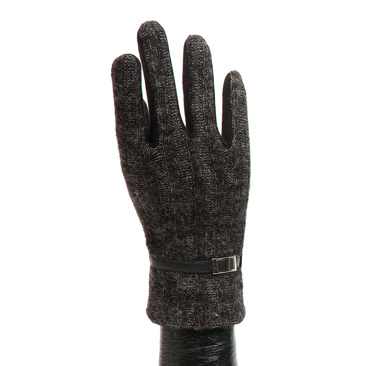 Black Sweater Glove with Buckle X7935